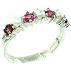 Sterling Silver Natural Pink Tourmaline & Pearl Ladies Eternity Ring
