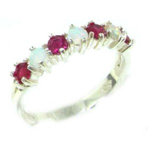 Sterling Silver Natural Fiery Opal & Ruby Eternity Ring