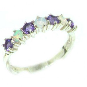 14K White Gold Natural Fiery Opal & Amethyst Eternity Ring