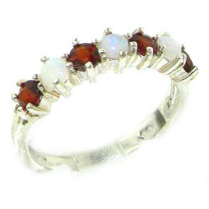 14K White Gold Natural Fiery Opal & Garnet Eternity Ring
