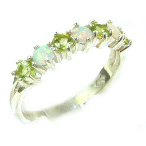 14K White Gold Natural Fiery Opal & Peridot Eternity Ring