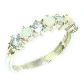 Sterling Silver Natural Fiery Opal & Aquamarine Eternity Ring