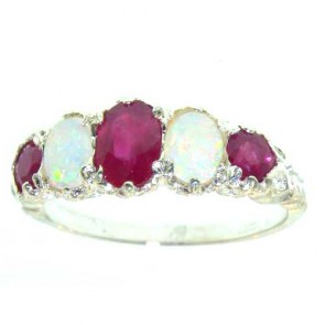 9ct White Gold Luxury Vibrant Ruby & Opal Eternity Band Ring
