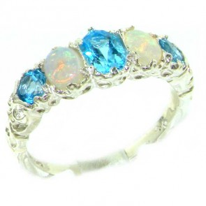 Sterling Silver Natural Blue Topaz & Opal English Victorian Ring