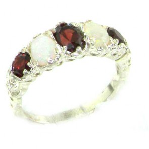 Sterling Silver Natural Garnet & Opal English Victorian Ring