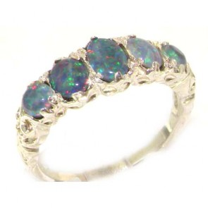 14K White Gold Fiery Opal English Victorian Ring