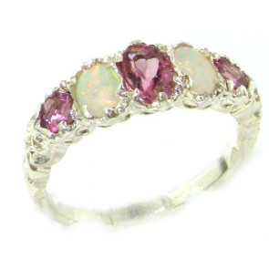 Sterling Silver Natural Pink Tourmaline & Opal English Victorian Ring