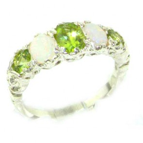 Sterling Silver Natural Peridot & Opal English Victorian Ring
