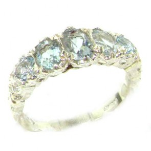 Sterling Silver Natural Aquamarine English Victorian Ring