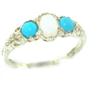 Sterling Silver Natural Opal & Turquoise English Victorian Trilogy Ring
