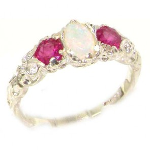 14K White Gold Natural Opal & Ruby English Victorian Trilogy Ring