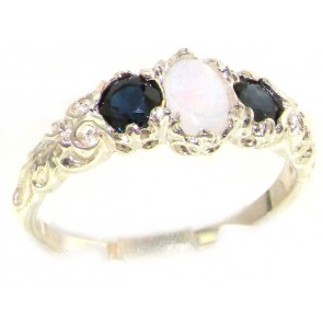 Sterling Silver Natural Opal & Sapphire English Victorian Trilogy Ring