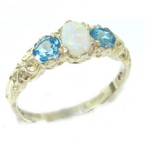 Sterling Silver Colourful Opal & Blue Topaz Ring
