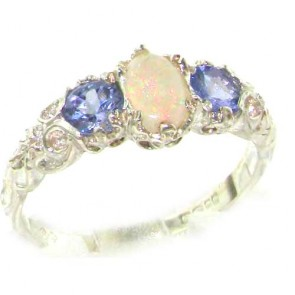 Sterling Silver Opal & Tanzanite Ring