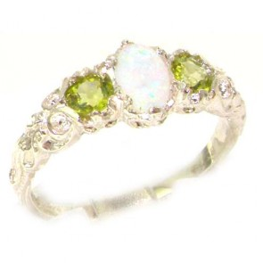 Sterling Silver Natural Opal & Peridot English Victorian Trilogy Ring