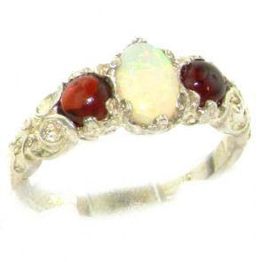 Sterling Silver Natural Opal & Garnet English Victorian Trilogy Ring