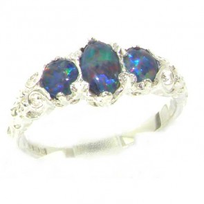 9ct White Gold Ladies Opal Trilogy Ring