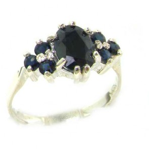 Sterling Silver Natural Deep Blue Sapphire Ring