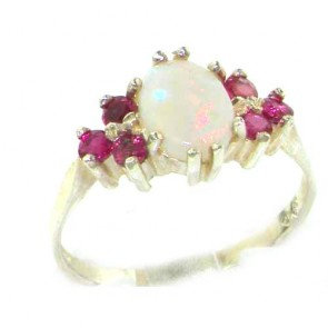 Sterling Silver Natural Opal & Ruby Ring