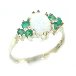 Sterling Silver Natural Opal & Emerald Ring
