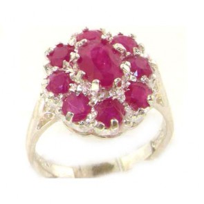 Sterling Silver Natural 3.3ct Ruby Large Cluster Ring