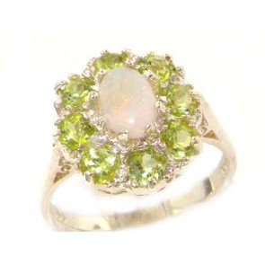 Sterling Silver Natural Opal & Peridot Large Cluster Ring