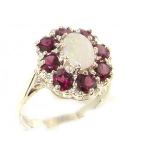 Sterling Silver Natural Opal & Rhodolite Garnet Large Cluster Ring