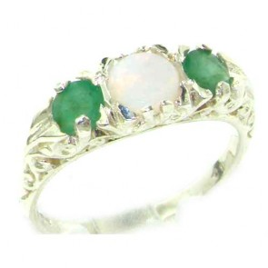 Sterling Silver Natural Opal & Emerald Victorian Trilogy Ring