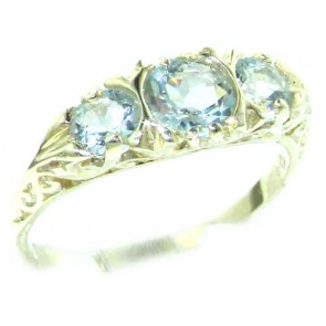 Sterling Silver Natural Aquamarine Victorian Trilogy Ring