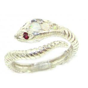 Sterling Silver Fiery Opal & Ruby Snake Ring