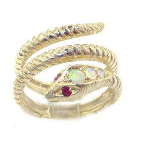 Sterling Silver Coiled Ruby & Fiery Opal Snake Ring