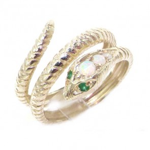Sterling Silver Coiled Fiery Opal & Emerald Snake Ring