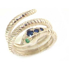 Sterling Silver Blue Sapphire & Emerald Snake Ring