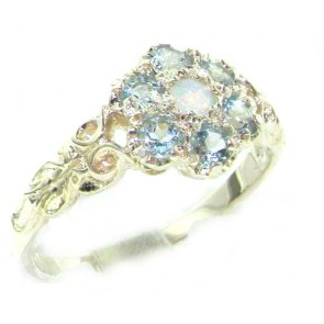 Sterling Silver Natural Fiery Opal & Aquamarine Daisy Ring