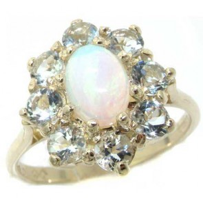 Sterling Silver Natural Opal & Aquamarine Cluster Ring