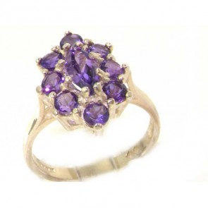 Sterling Silver Natural Amethyst Cluster Ring