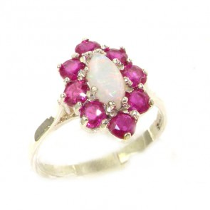 Sterling Silver Natural Opal & Ruby Cluster Ring