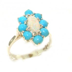 Sterling Silver Natural Opal & Turquoise Cluster Ring