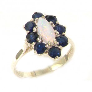 Sterling Silver Natural Opal & Sapphire Cluster Ring
