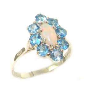 Sterling Silver Natural Opal & Blue Topaz Cluster Ring
