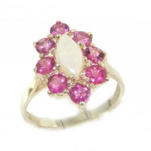 Sterling Silver Natural Opal & Pink Tourmaline Cluster Ring