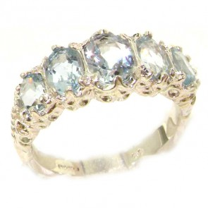 Sterling Silver Genuine Aquamarine Ring