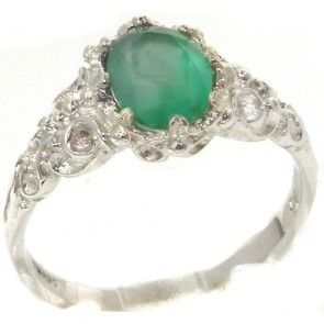 9ct White Gold Natural Emerald Womens Solitaire Engagement Ring