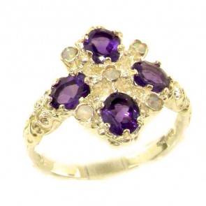 Sterling Silver Natural Amethyst & Fiery Opal Ring