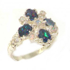 Sterling Silver Ladies Opal 9 Stone Ring