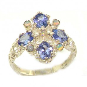 Sterling Silver Natural Tanzanite & Fiery Opal Ring