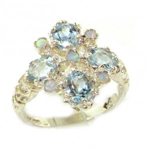 Sterling Silver Natural Aquamarine & Fiery Opal Ring