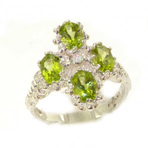Sterling Silver Natural Peridot & Fiery Opal Ring