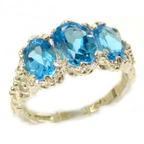Sterling Silver Natural 3.4ct Blue Topaz Ladies Ring