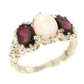 Sterling Silver Natural Large Opal & Garnet Ladies Ring